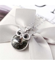 Cute Night Owl Austrian Crystal High Fashion Women Necklace - Black