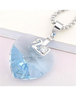Peach Heart Light Blue Austrian Crystal Silver Necklace Pendant