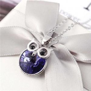 Cute Night Owl Austrian Crystal High Fashion Women Necklace - Purple