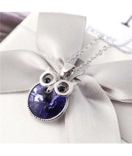 Cute Night Owl Austrian Crystal High Fashion Women Necklace - Purple