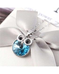 Cute Night Owl Austrian Crystal High Fashion Women Necklace - Blue