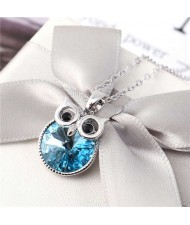 Cute Night Owl Austrian Crystal High Fashion Women Necklace - Blue