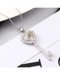 Luxurious Style Austrian Crystal Inlaid Heart Shape Key Pendant Women Necklace - Luminous White