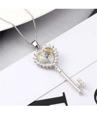 Luxurious Style Austrian Crystal Inlaid Heart Shape Key Pendant Women Necklace - Luminous White