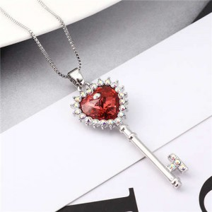 Luxurious Style Austrian Crystal Inlaid Heart Shape Key Pendant Women Necklace - Red