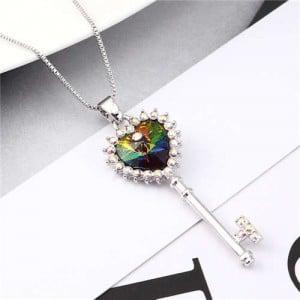 Luxurious Style Austrian Crystal Inlaid Heart Shape Key Pendant Women Necklace - Multicolor