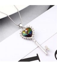Luxurious Style Austrian Crystal Inlaid Heart Shape Key Pendant Women Necklace - Multicolor