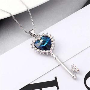 Luxurious Style Austrian Crystal Inlaid Heart Shape Key Pendant Women Necklace - Blue