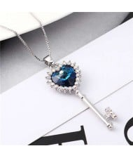 Luxurious Style Austrian Crystal Inlaid Heart Shape Key Pendant Women Necklace - Blue