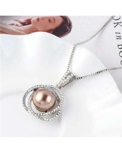 Pearl Inlaid Austrian Crystal Floral Pendant Long Chain Necklace - Champagne