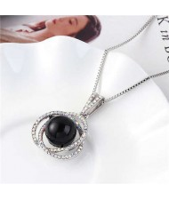 Pearl Inlaid Austrian Crystal Floral Pendant Long Chain Necklace - Black