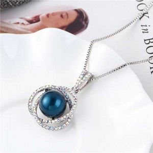 Pearl Inlaid Austrian Crystal Floral Pendant Long Chain Necklace - Blue