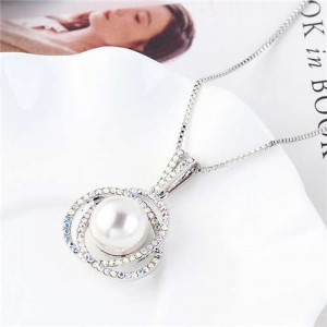 Pearl Inlaid Austrian Crystal Floral Pendant Long Chain Necklace - White