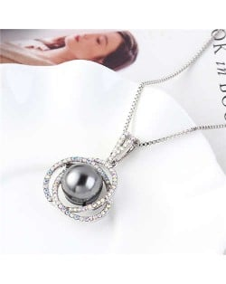 Pearl Inlaid Austrian Crystal Floral Pendant Long Chain Necklace - Gray