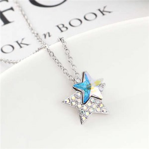 Shining Stars Austrian Crystal High Fashion Women Necklace - Colorful White