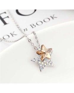 Shining Stars Austrian Crystal High Fashion Women Necklace - Champagne