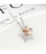 Shining Stars Austrian Crystal High Fashion Women Necklace - Champagne