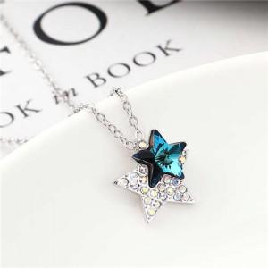 Shining Stars Austrian Crystal High Fashion Women Necklace - Blue