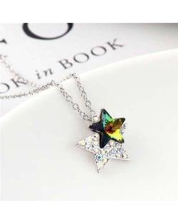 Shining Stars Austrian Crystal High Fashion Women Necklace - Colorful Black