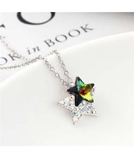Shining Stars Austrian Crystal High Fashion Women Necklace - Colorful Black