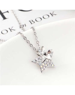 Shining Stars Austrian Crystal High Fashion Women Necklace - White