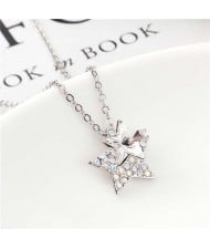 Shining Stars Austrian Crystal High Fashion Women Necklace - White