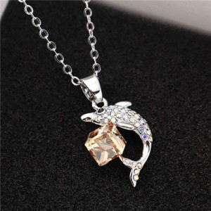 Dolphine and Crystal Cube Combo Pendant Women High Fsahion Necklace - Champagne