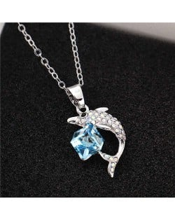 Dolphine and Crystal Cube Combo Pendant Women High Fsahion Necklace - Blue