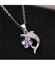 Dolphine and Crystal Cube Combo Pendant Women High Fsahion Necklace - Violet