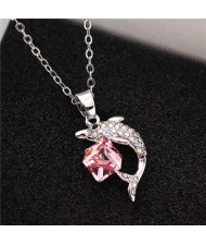 Dolphine and Crystal Cube Combo Pendant Women High Fsahion Necklace - Rose