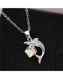 Dolphine and Crystal Cube Combo Pendant Women High Fsahion Necklace - Colorful White