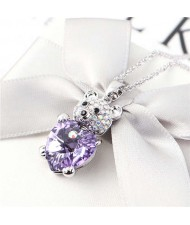 Austrian Crystal Inalid Bear Design Platinum Plated High Fashion Women Necklace - Violet