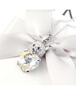 Austrian Crystal Inalid Bear Design Platinum Plated High Fashion Women Necklace - Luminous White