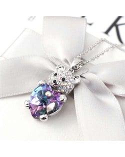 Austrian Crystal Inalid Bear Design Platinum Plated High Fashion Women Necklace - Purple