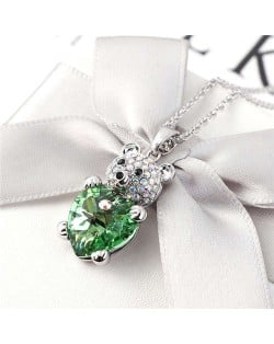 Austrian Crystal Inalid Bear Design Platinum Plated High Fashion Women Necklace - Olive