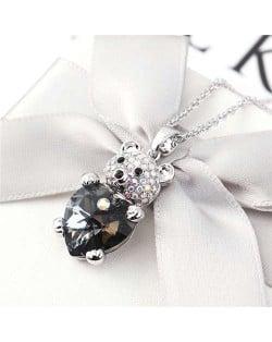 Austrian Crystal Inalid Bear Design Platinum Plated High Fashion Women Necklace - Black