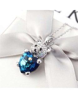 Austrian Crystal Inalid Bear Design Platinum Plated High Fashion Women Necklace - Blue