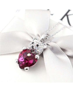 Austrian Crystal Inalid Bear Design Platinum Plated High Fashion Women Necklace - Rose