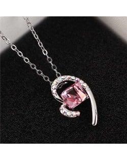 Austrian Crystal Cube Inlaid Elegant Heart Pendant Platinum Plated Women Necklace - Light Rose