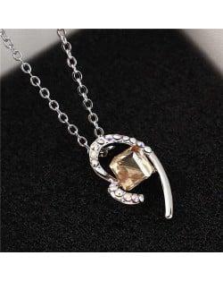 Austrian Crystal Cube Inlaid Elegant Heart Pendant Platinum Plated Women Necklace - Golden