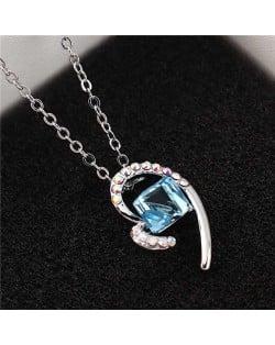 Austrian Crystal Cube Inlaid Elegant Heart Pendant Platinum Plated Women Necklace - Aquamarine