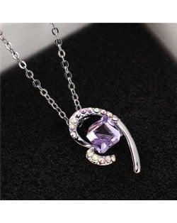 Austrian Crystal Cube Inlaid Elegant Heart Pendant Platinum Plated Women Necklace - Violet