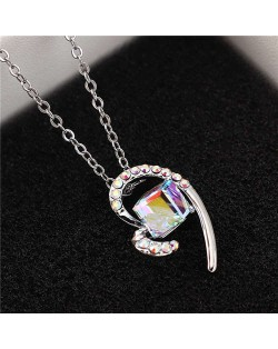 Austrian Crystal Cube Inlaid Elegant Heart Pendant Platinum Plated Women Necklace - Luminous White
