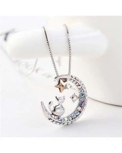 Cat Moon and Star Design Austrian Crystal Women Platinum Plated Necklace - Golden