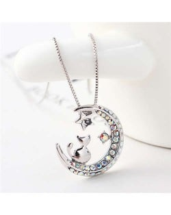 Cat Moon and Star Design Austrian Crystal Women Platinum Plated Necklace - White
