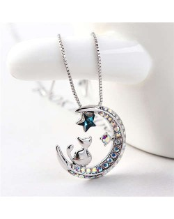 Cat Moon and Star Design Austrian Crystal Women Platinum Plated Necklace - Blue