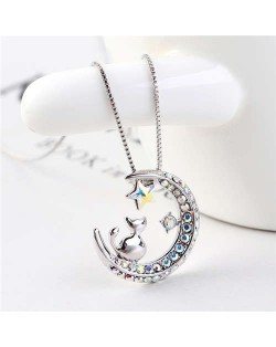 Cat Moon and Star Design Austrian Crystal Women Platinum Plated Necklace - Luminous White