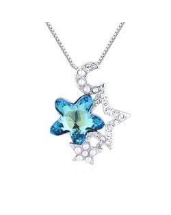 Stars and Moon Combo High Fashion Austrian Crystal Women Necklace - Aquamarine