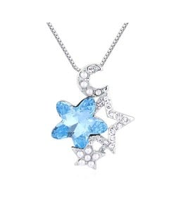 Stars and Moon Combo High Fashion Austrian Crystal Women Necklace - Blue