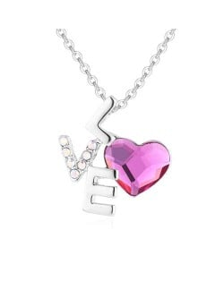 Love and Heart Combo Design Austrian Crystal Graceful Women Necklace - Purplish Red